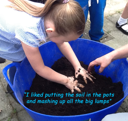 Mixing compost & planting with children