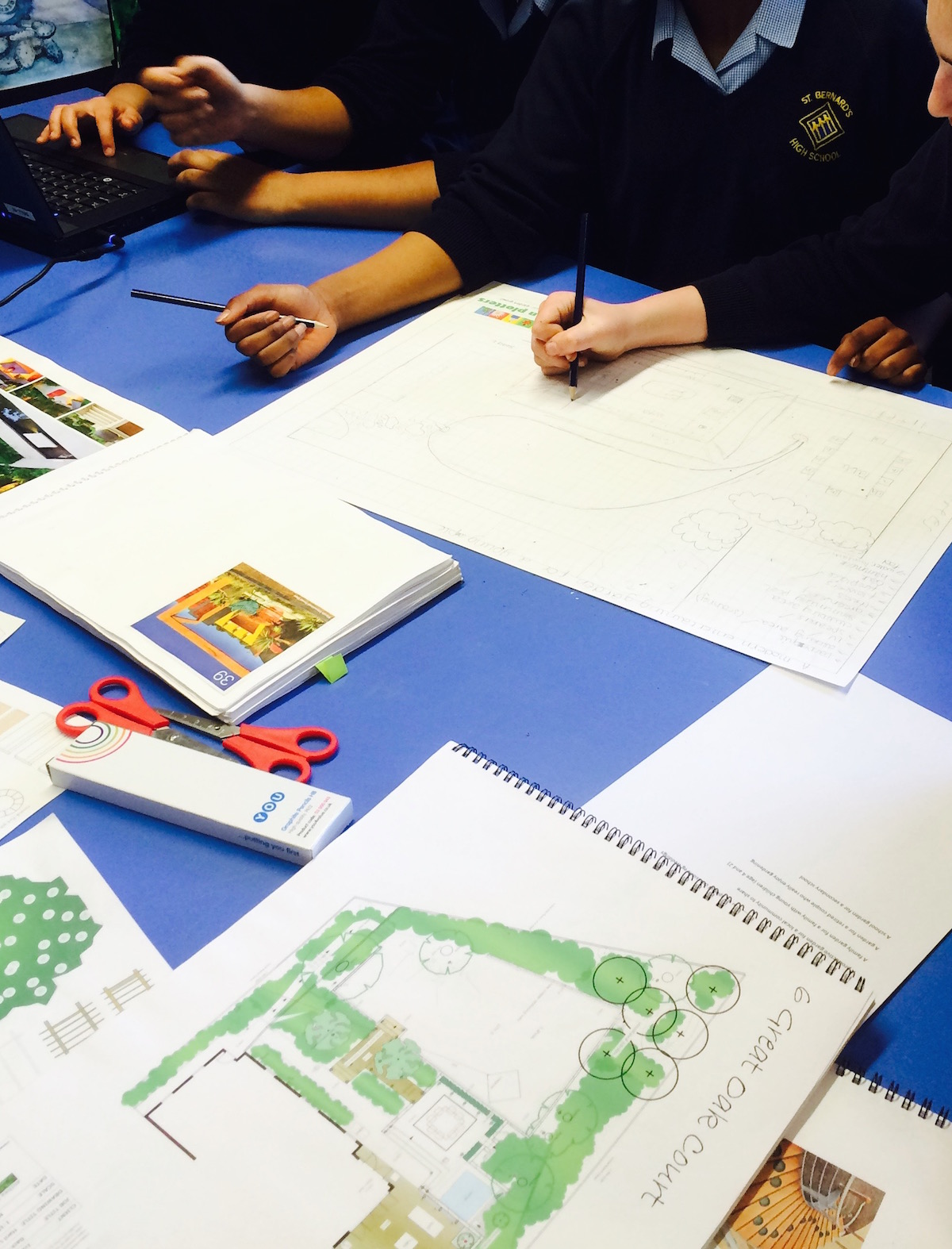 designing gardens with Year 8 at St Bernards